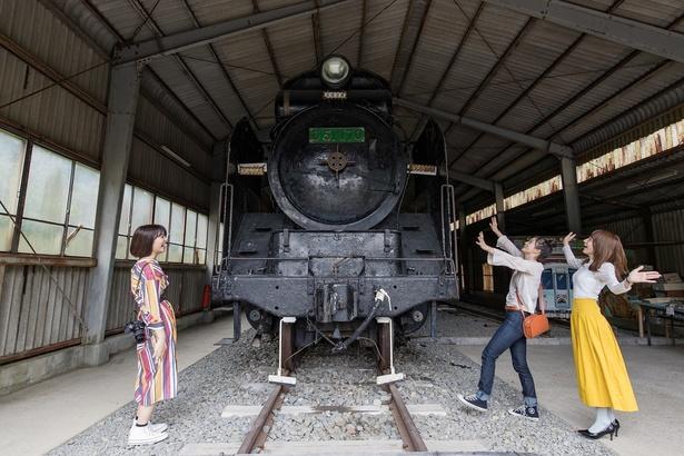 「デゴイチ」の愛称で親しまれた蒸気機関車。運転席にも入って見学することができる