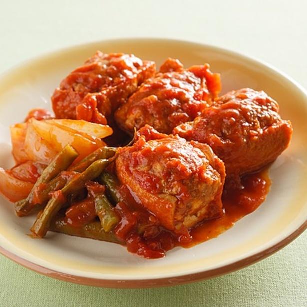 「肉詰め厚揚げのトマト煮」