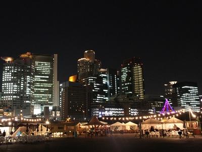梅田のビル群が立ち並び都会の夜景を眺めながらのBBQができる