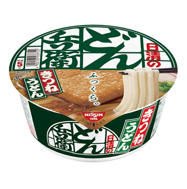 <東日本限定>日清のどん兵衛 きつねうどん(190円)。普段食べることのできない東日本仕様のどん兵衛。西日本と味が違うので、食べ比べしてみて