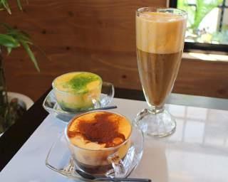 """横浜にオープンする「CAFE GIANG」には、""""すくって食べる""""新感覚の「エッグコーヒー」が登場(写真右)"""