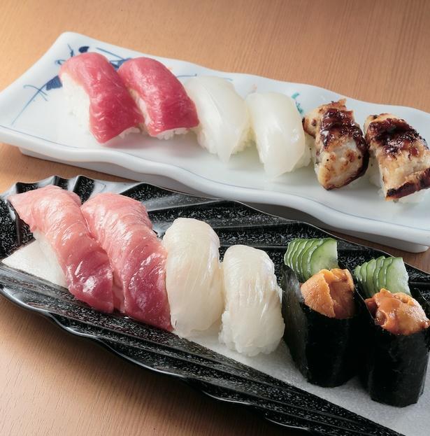 握り寿司各種2貫(240円〜)。価格は2貫(240円)と2貫(480円)の2種類 / ぶんぶく寿司