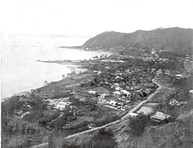 1914年の葉山村時代の海岸の様子。現在の一色海岸で、写真中ほどの緑が多いエリアは御用邸にあたる