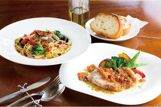 「ウッチーノ食堂」の土日祝限定のコースランチ(1800円~2300円)のメインはスパゲッティ、鉄板焼ハンバーグ、糸島豚の肉料理から1品