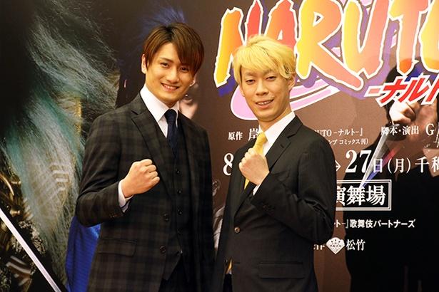 新作歌舞伎「NARUTO─ナルト─」の製作発表会見に登壇した(左から)中村隼人、坂東巳之助