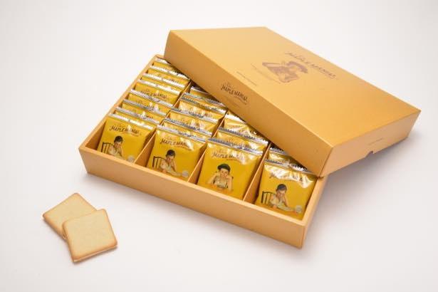 過去には 1日で50000 枚分以上を売り上げたザ・メープルマニアの「メープルバタークッキー」(9枚入920円/18枚入1840円/32枚入 3240円)