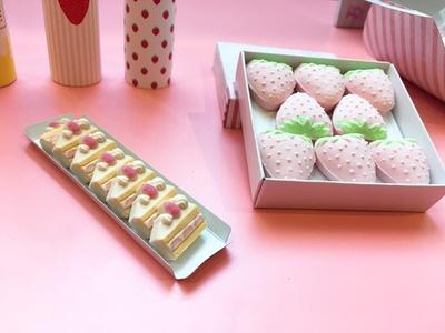 【写真を見る】ショートケーキの形をした「ショートケーキ和三盆」(7個入750円・左)と、「イチゴ和三盆」(8個入750円・右)