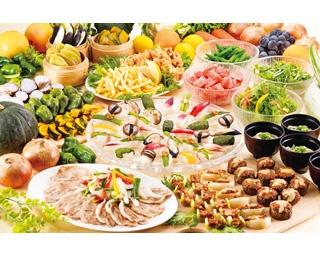 新鮮野菜を使用した本格和洋中料理が並ぶ「ナチュラルビュッフェ そら・たべよ」のランチブッフェ
