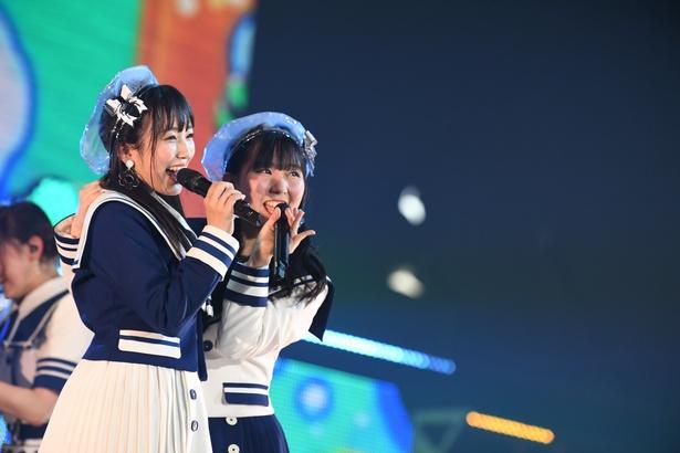 ニューシングル「早送りカレンダー」ででWセンターを務める矢吹奈子さんと田中美久さん