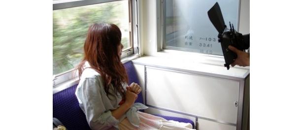 電車の中でも撮影しました!