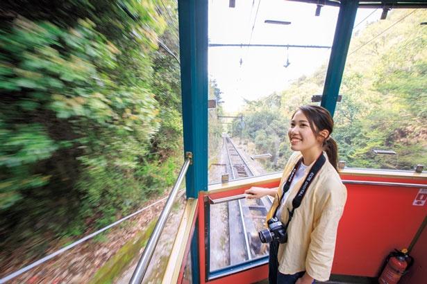 【写真を見る】六甲ケーブルの車内からも神戸の絶景が/六甲ケーブル 六甲山上駅