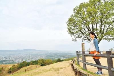 山頂には展望台もあり、大パノラマな古都の町並みが一望できる/若草山