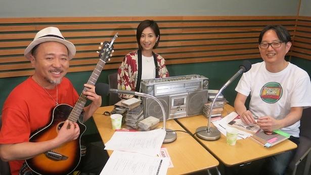 「ザ・カセットテープ・ミュージック」の収録に臨んだ(左から)マキタスポーツ、河村唯、スージー鈴木