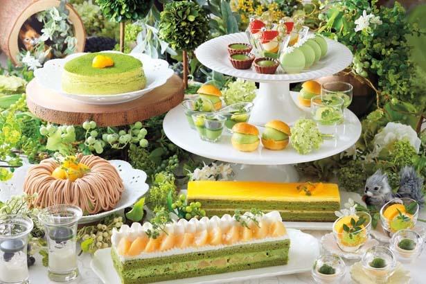 【写真を見る】「抹茶と白桃のショートケーキ」、「抹茶蜜柑のオペラ」など/京都センチュリーホテル オールデイダイニング ラジョウ
