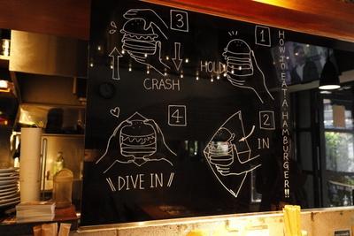 店内壁にはハンバーガーの食べ方講座が描かれる
