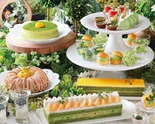 金柑の抹茶スフレや抹茶と白桃のショートケーキ、濃厚な抹茶のテリーヌショコラやマカロンなど