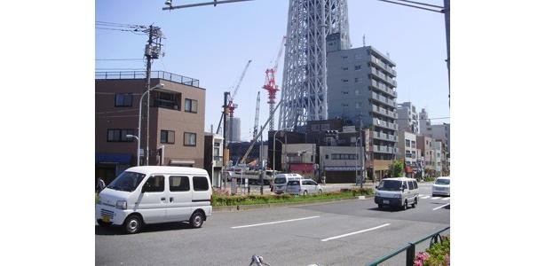 周囲の建物と比べると、その巨大さがわかる