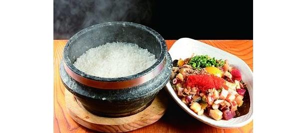 「鱈腹 魚金」の海鮮まかない石鍋ご飯