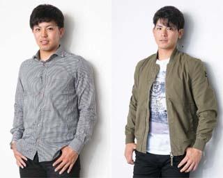 私服姿の東選手に「ファッションモデル風に」とお願い。表情がやや硬い?