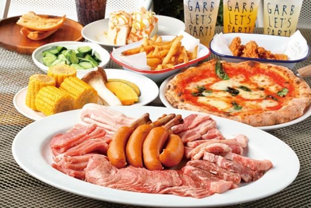肉、野菜のほか、すぐに食べられる前菜4皿、マルゲリータ、デザートが付く※写真はイメージ