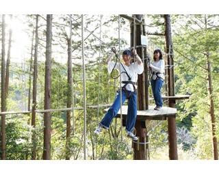 低い木の板を渡るところからスタート。足元が意外に揺れるので体幹が鍛えられそう!