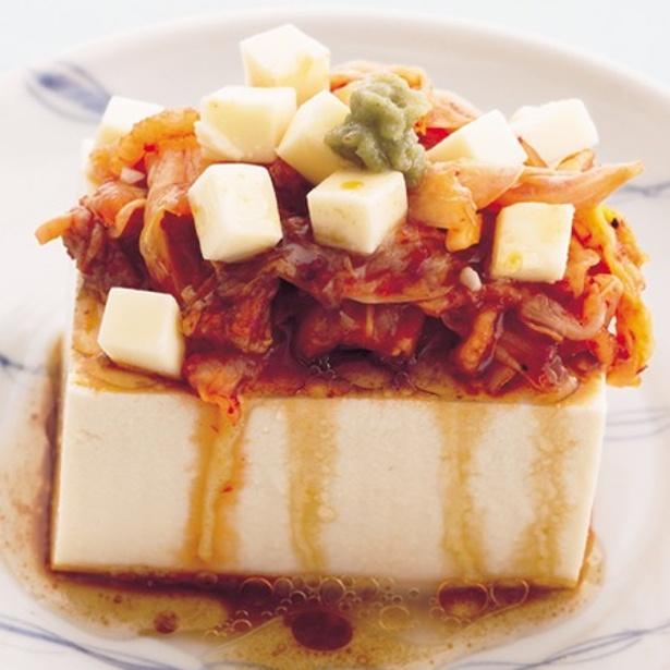 辛うま味で箸がすすむ「キムチチーズやっこ」
