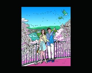 作品展のメインヴィジュアル。満開の桜が咲く日和山公園から、石巻市街を望む景色が描かれている