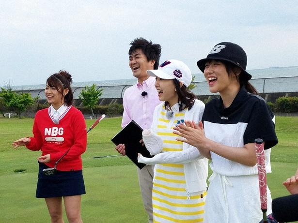「SKE48 むすびのイチバン!」で、SKE48が接待ゴルフでの太鼓持ちテクニックを学ぶ
