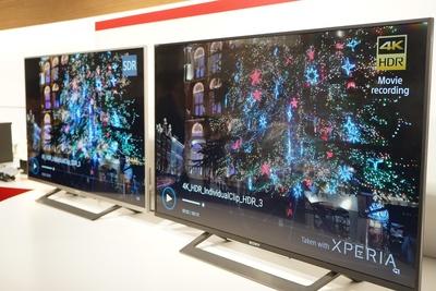 手前が「Xperia XZ2 Premium」で撮影した4K HDRの動画。暗い場所での撮影も鮮明に撮影ができる