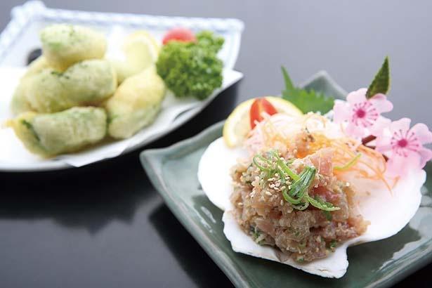 「天然ハマチのなめろう」(480円・右)、「アボカドの天ぷら」(480円・左)/ほっこりダイニング 田なか