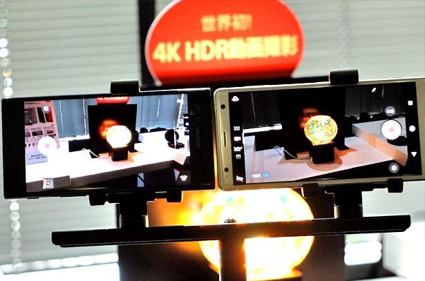 左が前モデル、右が最新機種「XPERIA XZ2」の4K HDR動画。色の再現力が明らかに違う