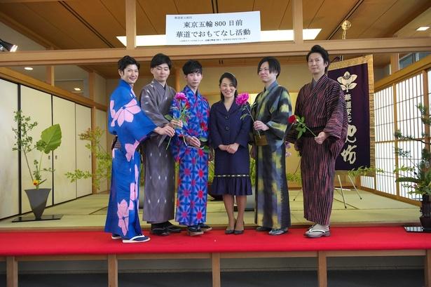左から、柿沢正一、江木淳人、真壁弘典、池坊専好(次期家元)、谷田貝一也、藤井真