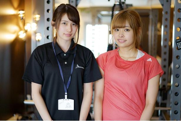"""元AKB48・森杏奈(左)が""""アイドルボディメイクプロジェクト""""を開始。FES☆TIVE・ぴっぴ(白石ぴあの、右)がトレーニングに挑む!"""