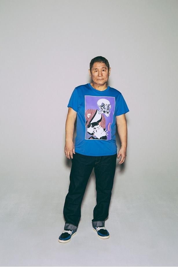 ビートたけしが描いた浮世絵風の絵をプリントしたTシャツ「SHARAKU SKULL T-SHIRT」(15800円)