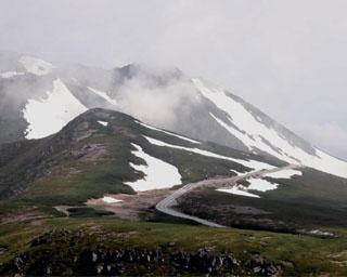 更に上に登ると美しい緑と白のコントラストの世界が