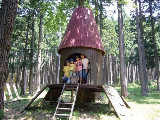 【写真を見る】ヨーロッパ文化とグリム童話をイメージした遊具が設置/グリム冒険の森