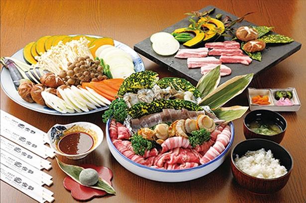 巻狩焼セット(1人2160円、注文は2人前~)をはじめ、BBQの食材は要予約