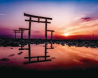 潮が引いた時にだけ出合える「大魚神社の海中鳥居」