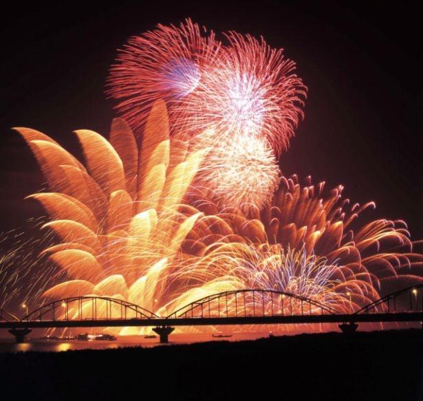 【写真を見る】自然の恩恵を受けた、水と緑の街ならではの豪快な花火は迫力十分