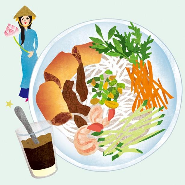 ベトナムではフォーより定番食のブン。日本のソーメンのような見た目と食感