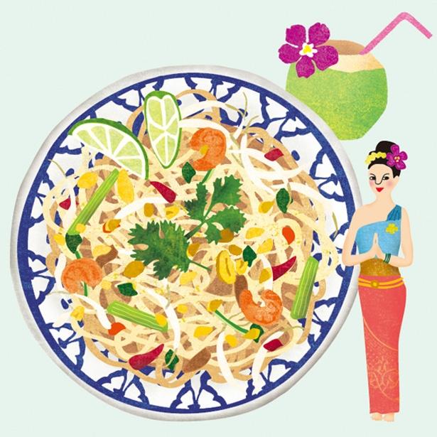 タイのパッタイ。中細でモチモチの米麺と具材を甘辛く味付けた焼きそば