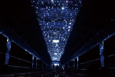 神戸~沢入駅間のトンネル内では車内でイルミネーションが点灯する