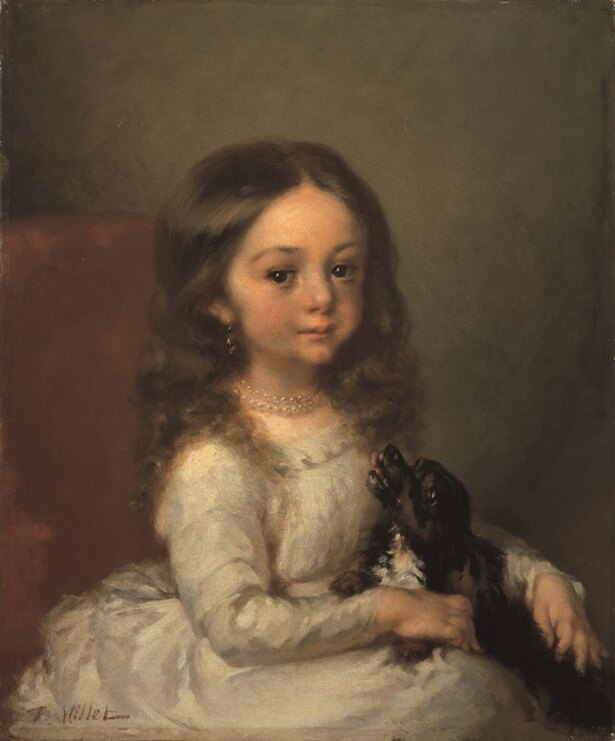 ジャン=フランソワ・ミレー「犬を抱いた少女」(1844-45)