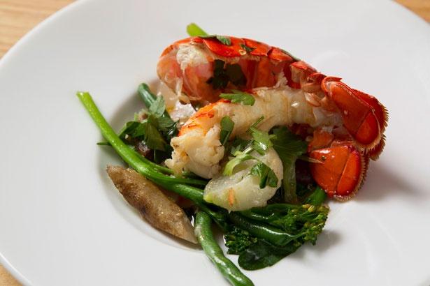 オマール海老と旬野菜の温かいサラダ(1598円)。ビネグレットソースに使用したトリュフの香りが鼻をくすぐる