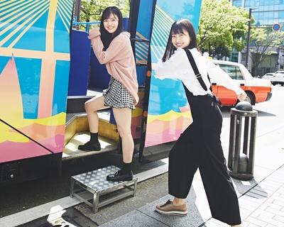 HKT48・本村碧唯&松岡はながオープントップバスで福岡観光