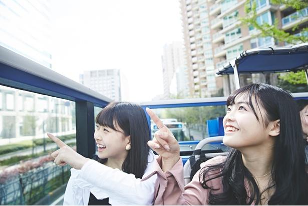 見て!見て!福岡タワーが見えるよ