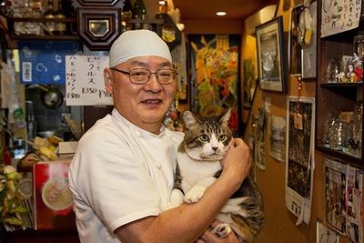 運が良ければ、居酒屋まめぞのアイドル「こじろうくん」に会えるかも。猫好きにはたまらないかわいさだ。