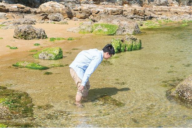 海水が透明なのですぐ魚を捕まえられる