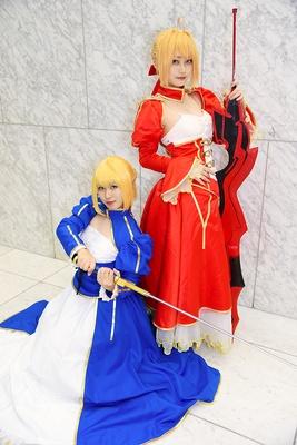 『Fate/Grand Order』のアルトリア・ペンドラゴン(左:アポロさん)と、ネロ・クラウディウス(右:雨路さん)