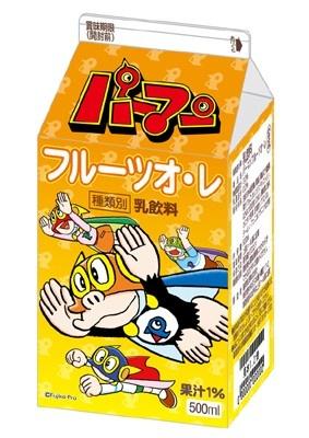 「パーマンフルーツオ・レ」(110円)。パッケージにはフルーツが大好きなパーマン2号をデザイン